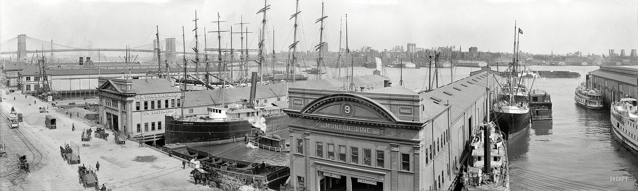 1908. Панорама пирсов вдоль Соуз-стрит в Нью-Йорке