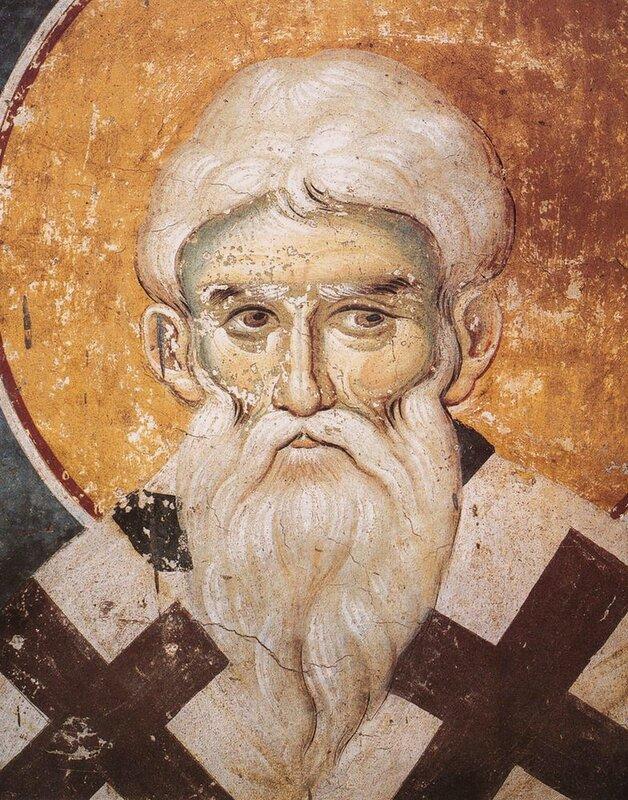 Святой Апостол Иаков, брат Господень. Фреска монастыря Протат на Афоне. Конец XIII века. Иконописец Мануил Панселин.