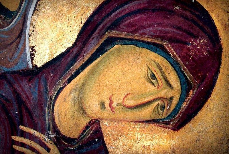 Распятие Христа. Фреска церкви Богородицы в Студенице, Сербия. 1208 - 1209 годы. Фрагмент. Пресвятая Богородица.