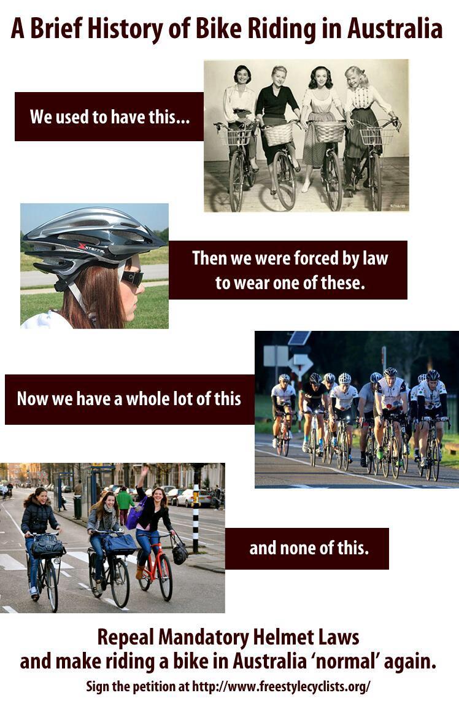 Краткая история велоезды в Австралии: сначала мы были такими. Затем они заставили нас ездить в этом. Теперь мы все такие. А не такие.