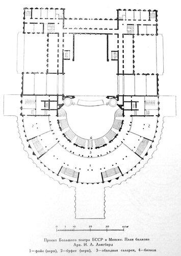 Конкурсный проект на здание Большого государственного оперного театра в Минске, Проект И. Г. Лангбарда, план балкона