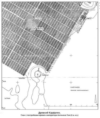 Древний Карфаген. План с постройками времен императора Антонина Пия