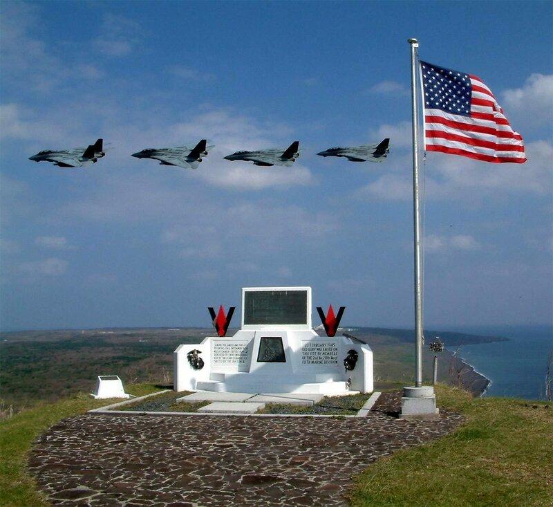 Современный вид места на вершине горы Сурибати, где в 1945 году был водружён флаг США