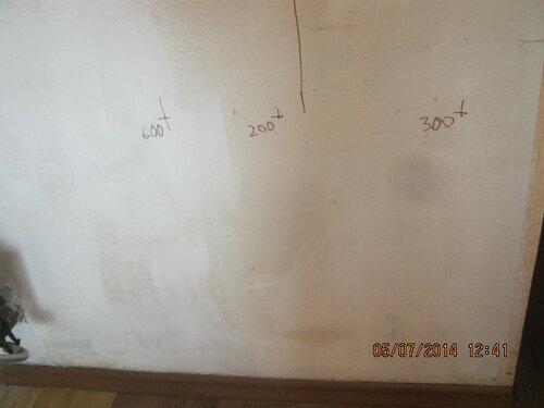 Произвели разметку на стене