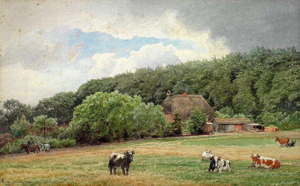 Hans Gude - Bondegård med beitende kuer (1892)..jpg