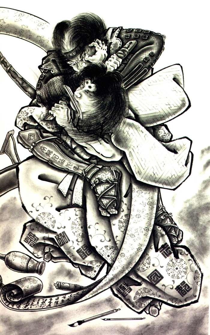Злобные демоны на эскизах татуировок японского художника Horiyoshi (54)