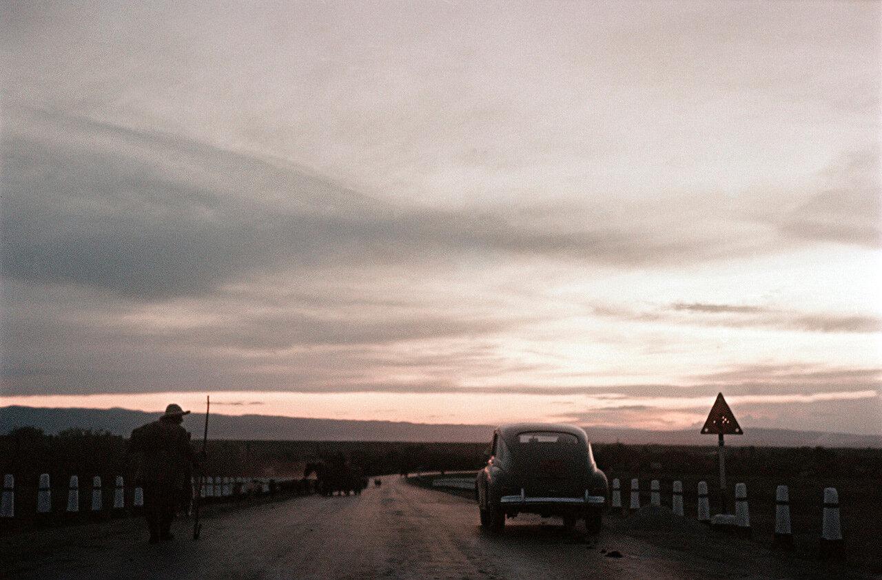 Вечерний пейзаж на дороге