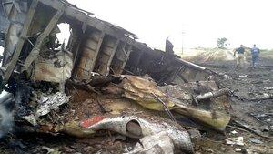 18+ Видео с места падения авиалайнера Boeing-777 под Донецком