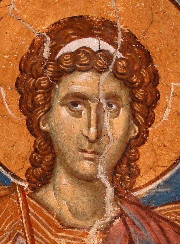 Ангел Господень. Фреска монастыря Высокие Дечаны, Косово, Сербия. Около 1350 года. Лик.