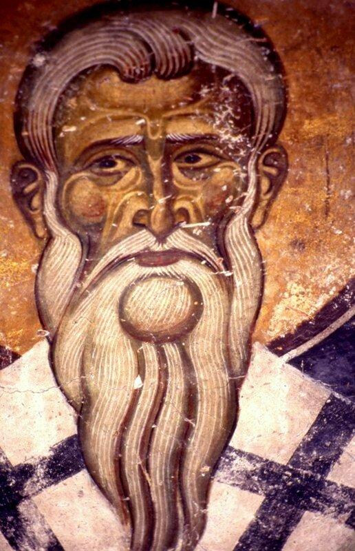 Святитель. Фреска монастыря Св. Иоанна Богослова на острове Патмос, Греция. 1180 год.