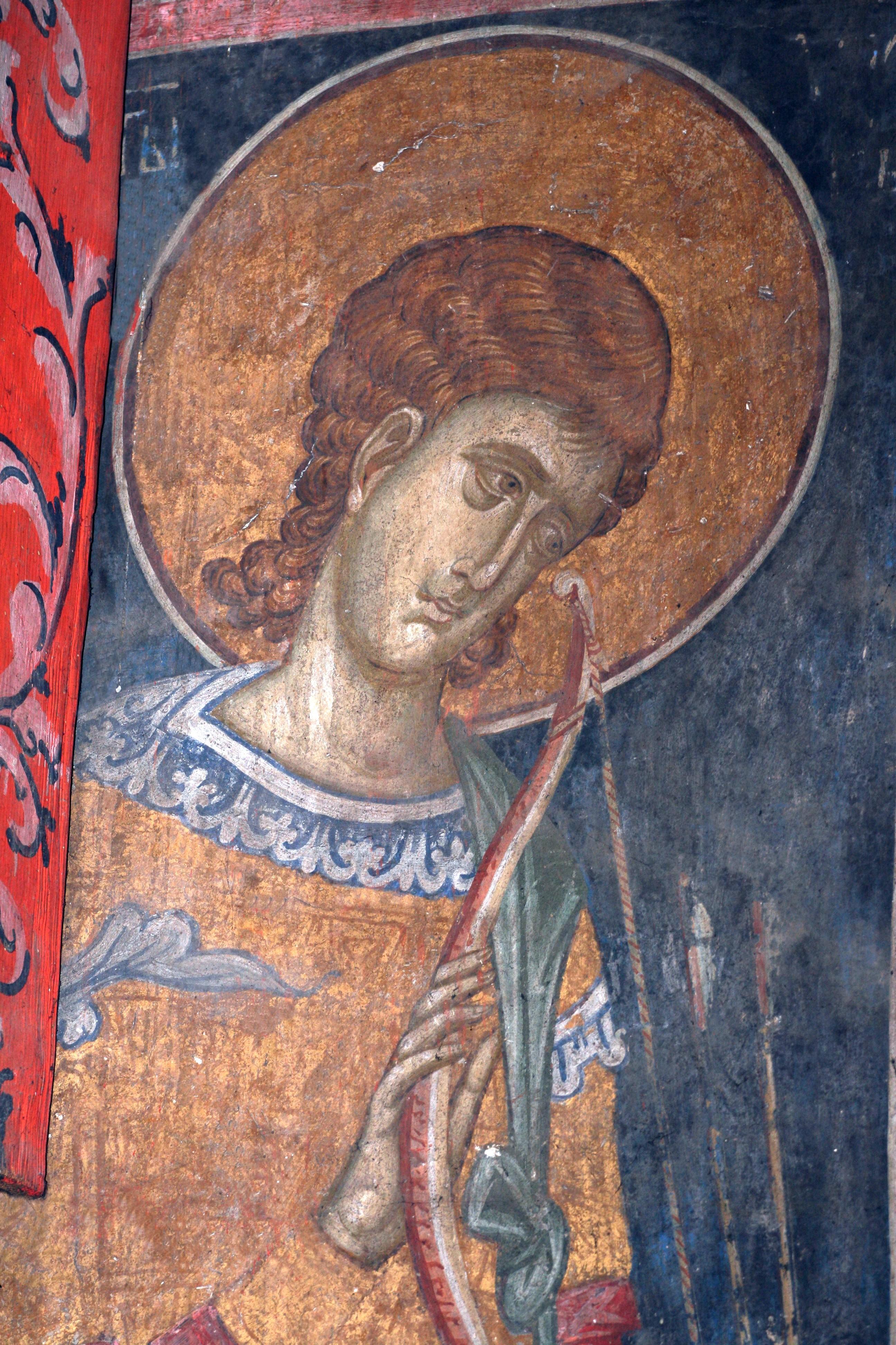 Святой мученик Аникита Никомидийский. Фреска монастыря Высокие Дечаны, Косово, Сербия. Около 1350 года.