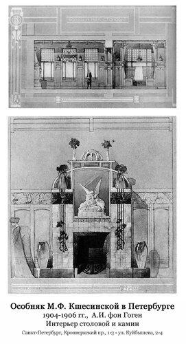 Особняк Ксешинской в Петербурге, интерьер столовой и камин