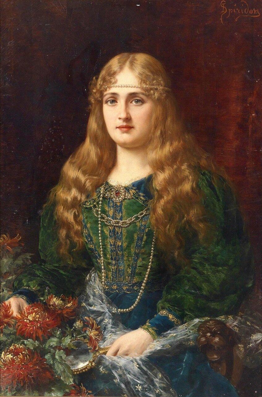 Молодая дама в историческом костюме_83 x 56_х.,м._Частное собрание