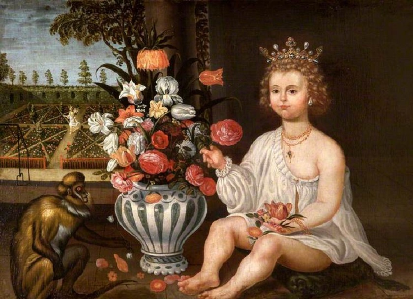 1600s Unknown Spanish artist, A Royal Child Seated by a Vase of Flowers, a Monkey with a Garden beyond and the Figure of Pomona Walking in It.jpg