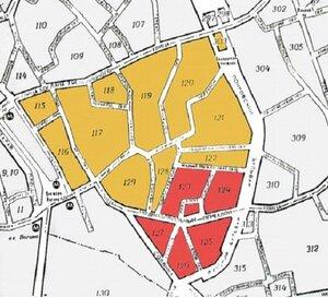 Достопримечательное место «Хитровка» в составе пяти кварталов выделено красным.Жёлтым выделен Заявленный объект Ивановская горка