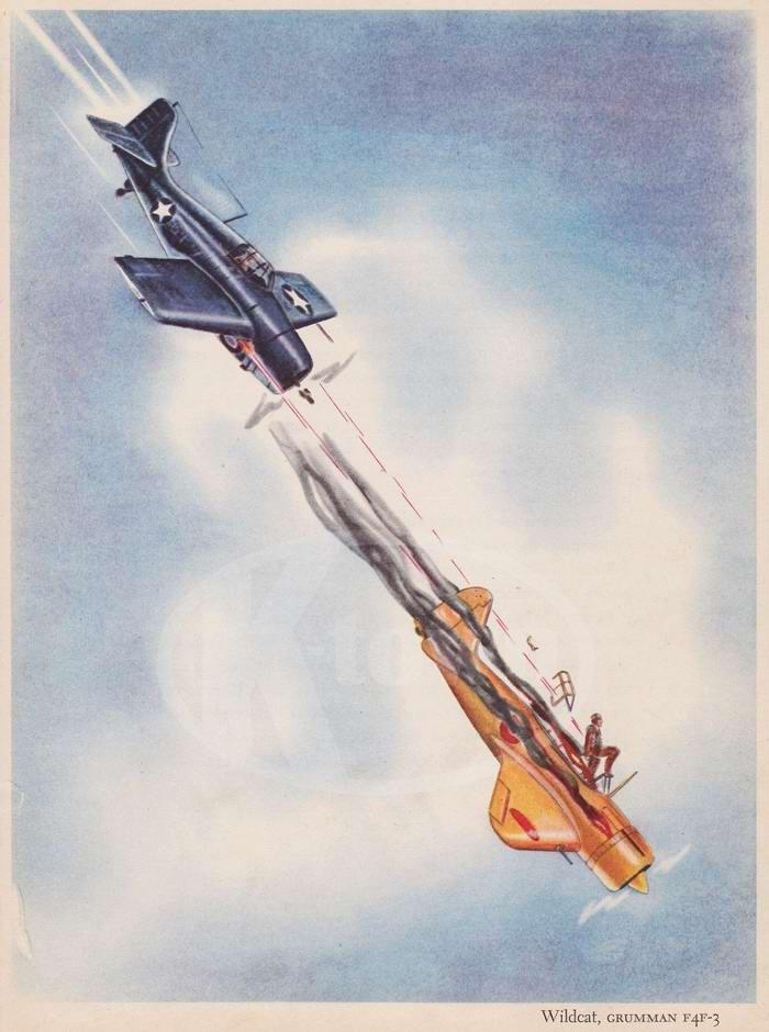 Grumman F4F-3 Wildcat - палубный истребитель
