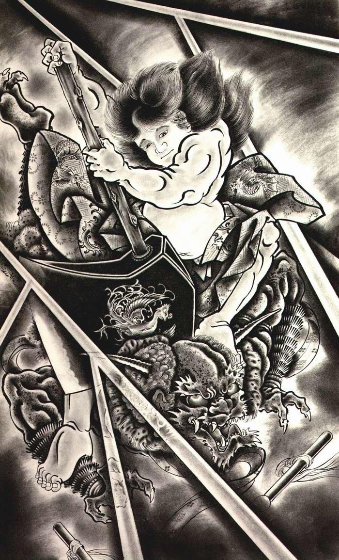 Злобные демоны на эскизах татуировок японского художника Horiyoshi (50)