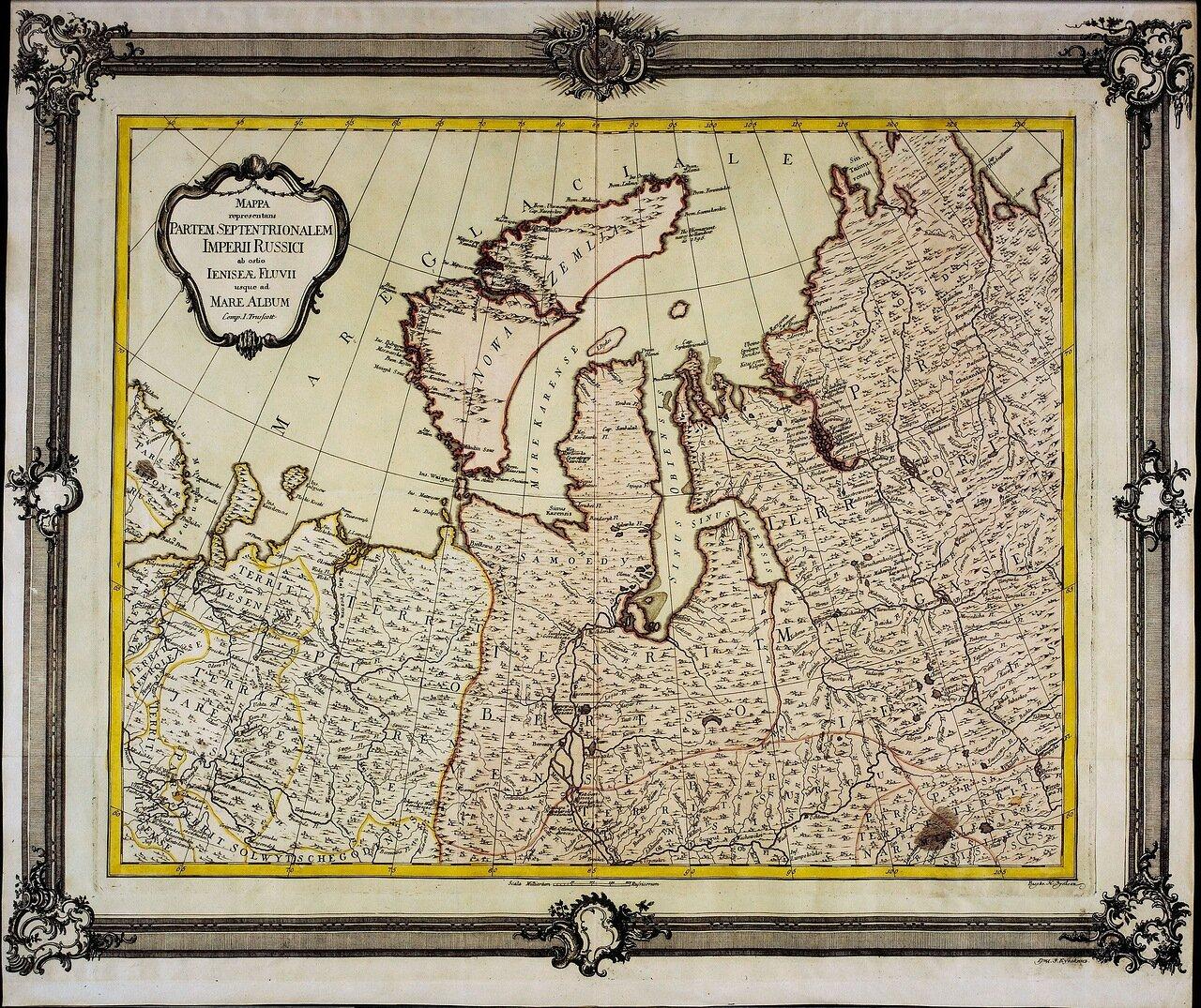 1750. Карта северной части Российской Империи от устья Енисея