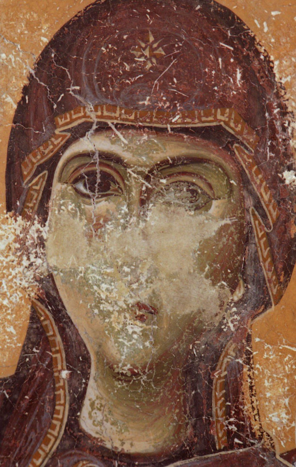 Лик Богородицы. Фрагмент фрески церкви Св. Георгия в Курбиново, Македония. 1191 год.