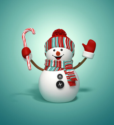 3d snowman holding candy cane, Christmas illustration