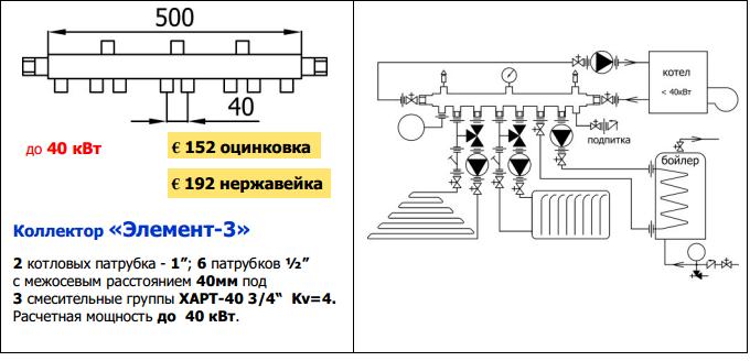 Схема котельной на три контура 347