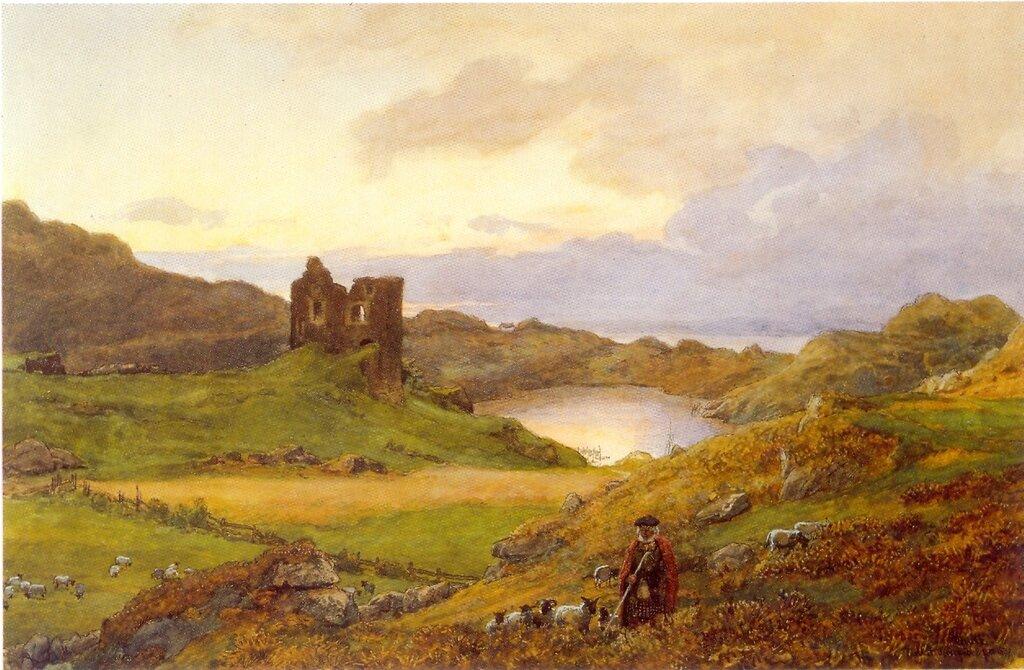 Hans Gude--Landskap Ved Tarbert Castle, Skottland--1877.jpg