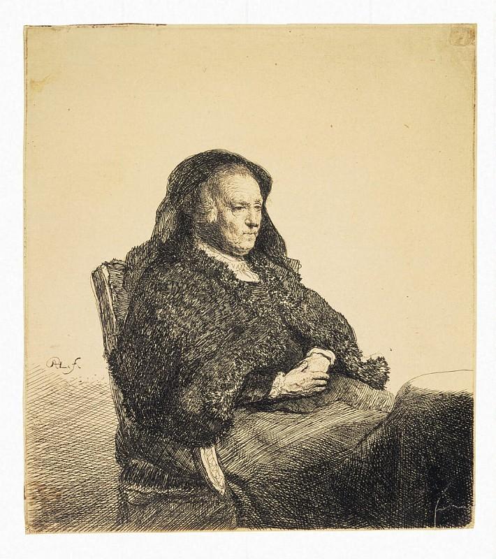 Рембрандт Харменс ван Рейн, Портрет матери Рембрандта, сидящей за столом, 1628 г.