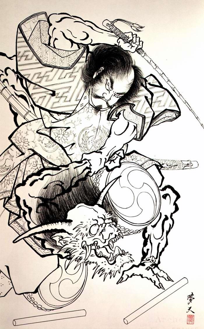 Злобные демоны на эскизах татуировок японского художника Horiyoshi (51)