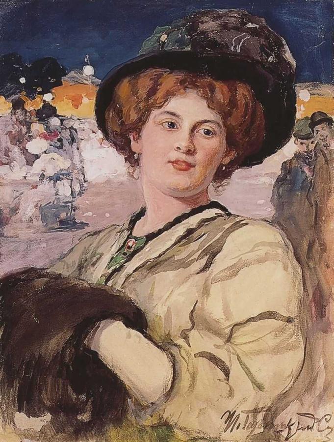 Портрет молодой дамы на фоне ночного кафе.Горюшкин-Сорокопудов И.С.