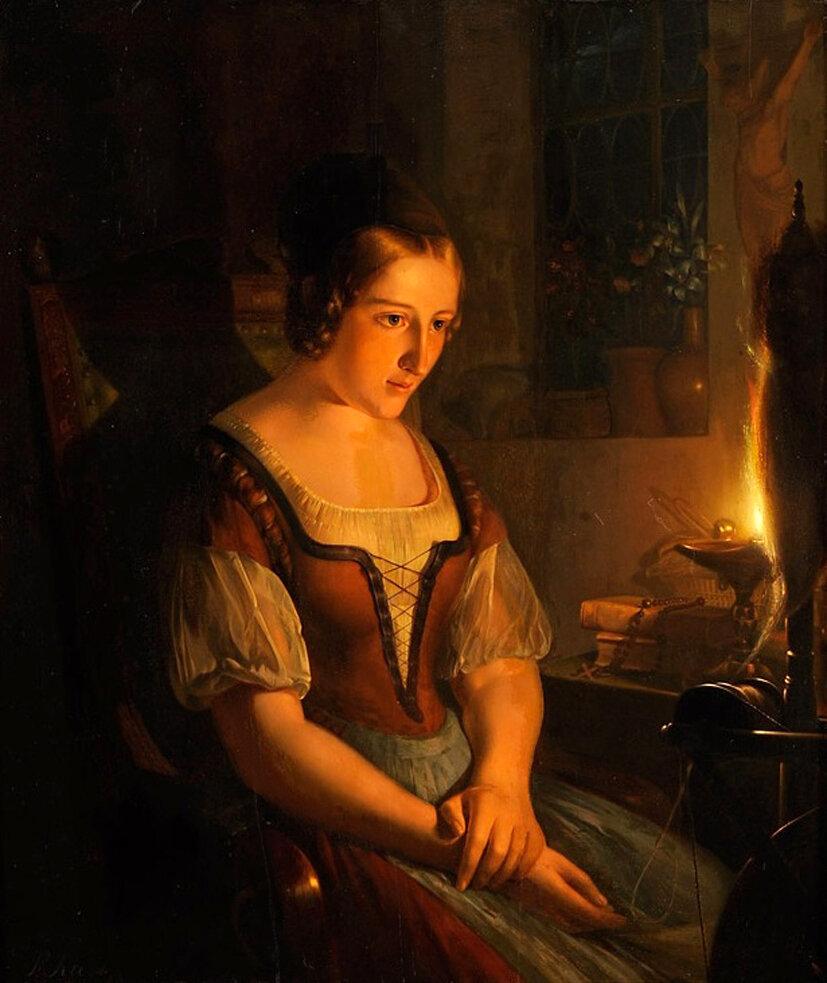 Kiers, Petrus 1807 Grönefeld - 1875 Amsterdam In Gedanken. S.jpg