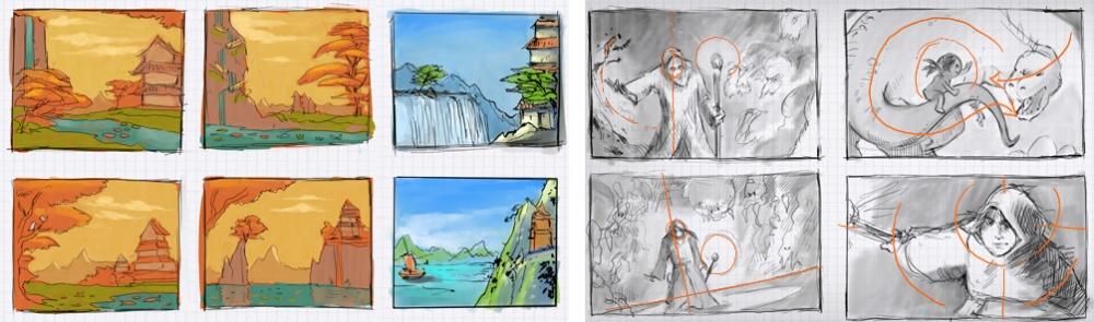 Различные эскизы перед началом работы; поиск композиции. 5. Освещение Что это : Свет итень, передан