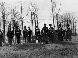 Группа солдат полка у посаженных ими деревьев.