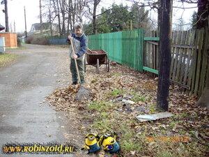 сгребание листьев
