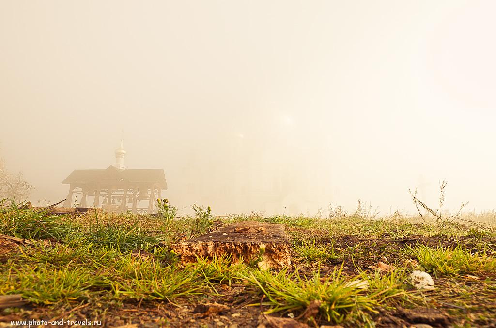 20. За звонницей, в 20-ти метрах - Белогорский Свято-Николаевский мужской монастырь. Но его не видно из-за тумана. Поездка на экскурсию в Пермский край.