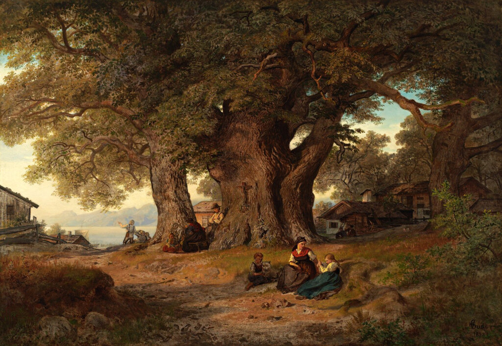 Hans Gude - Under eketreet (1858)..jpg