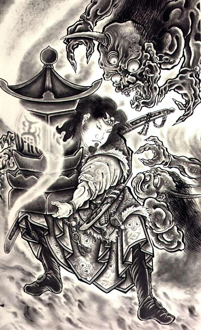 Злобные демоны на эскизах татуировок японского художника Horiyoshi (33)