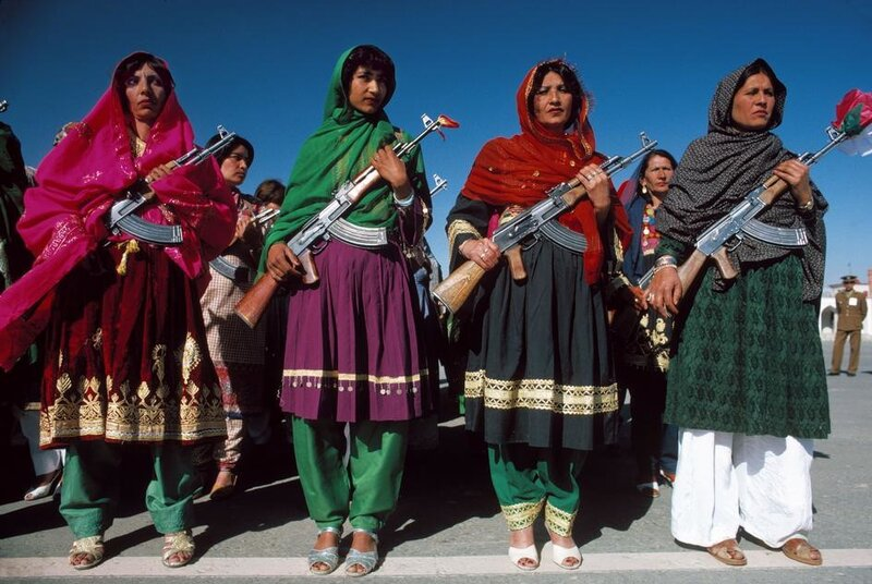 1986 Kabul. May 27 Armed women in traditional clothes celebrate the anniversary of the Coup d'Etat of 1978.jpg
