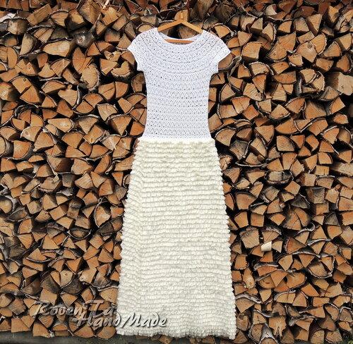 вязаное платье, платье крючком, нарядное вязаное платье, платье белая берёза, платье из ленточной пряжи, roventa-handmade