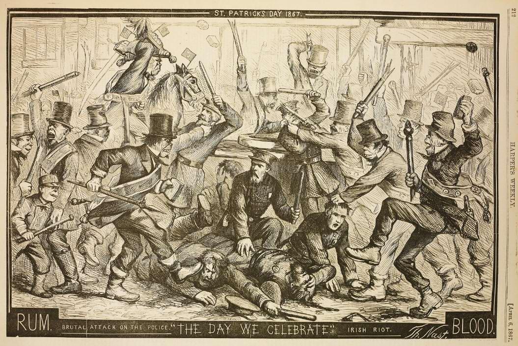 Мы празднуем: Жестокая атака на полицейских со стороны бунтовщиков из ирландских уличных банд