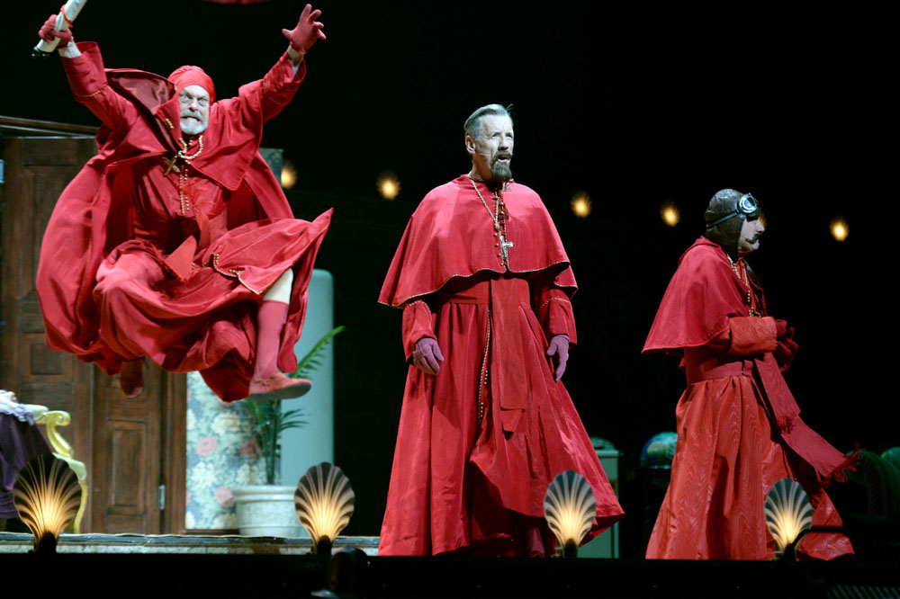 """EXCLUSIVE COVERAGE. LONDON, ENGLAND - JULY 01:  (L-R) Terry Gilliam, Michael Palin and Terry Jones perform on the opening night of """"Monty Python Live (Mostly)"""" on July 1, 2014 in London, England.  (Photo by Dave J Hogan/Getty Images)"""