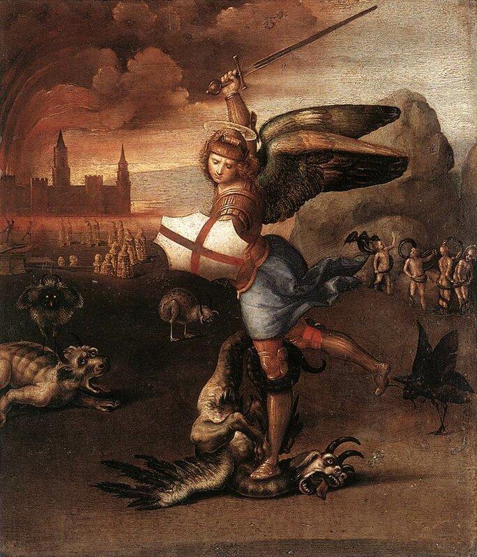 Рафаэль. Михаил Архангел, побеждающий дьявола, 1518 год