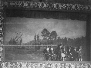 """""""Закладка Петербурга"""" - сцена из постановки живых исторических картин."""
