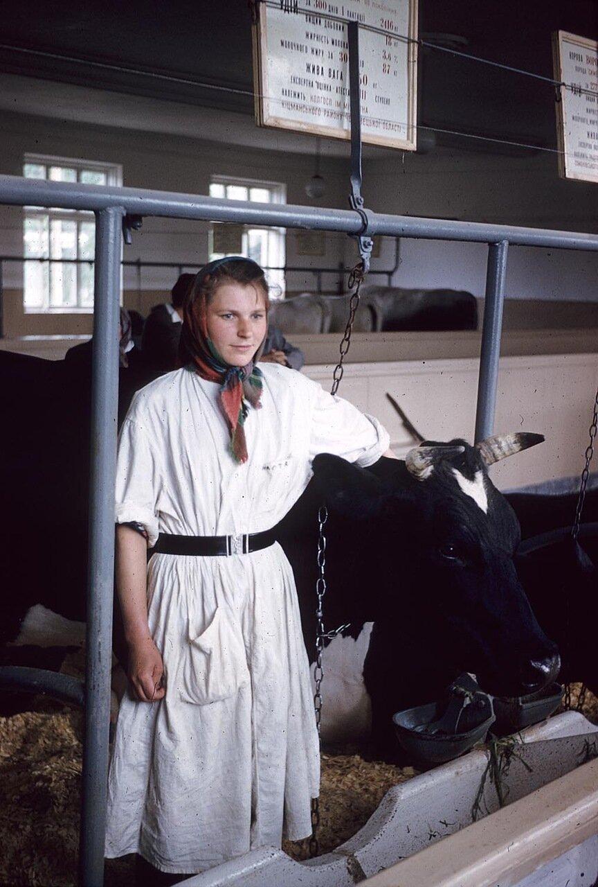 Женщина позирует с коровой на рынке