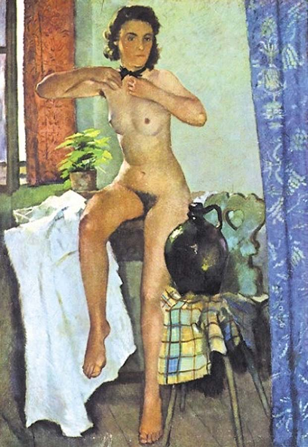 Обнажённая перед окном (ок. 1942), Антон Лутц (1894-1992) Австрия