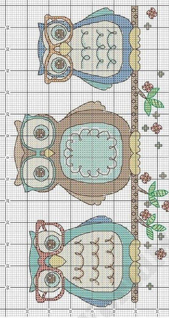 Схема вышивки совы совушки совята