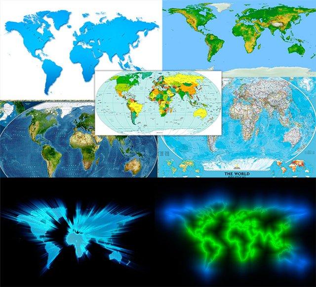 Карты мира в форматах PSD и JPG
