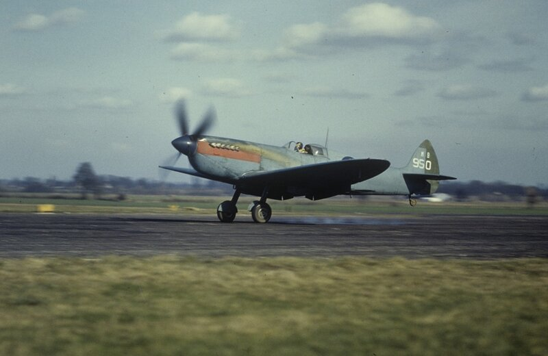 Mark XI Spitfire (sn MB950) 'Upstairs Maid' of the 14th Photographic Squadron, 7th Photographic Reconnaissance Group takes off at Mount Farm
