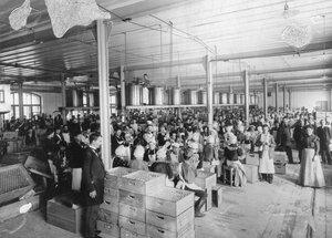Работницы за разливкой и упаковкой водки и спирта в упаковочном отделении. Казенный винный склад №4 (Обводный канал, д.159)