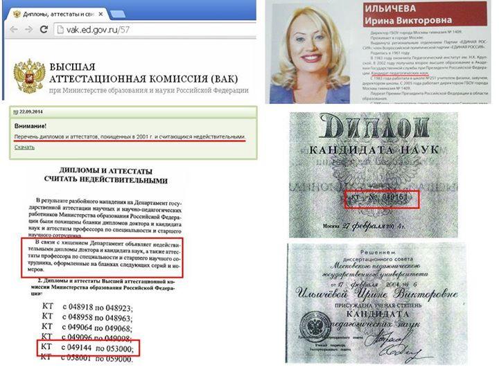 Диплом депутата Мосгордумы Ирины Ильичевой оказался краденным