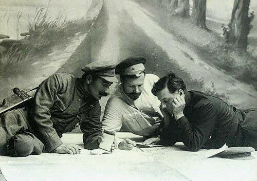 Фото Пётр Оцуп. Семен Будённый, Михаил Фрунзе и Климент Ворошилов. 1920 г..
